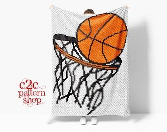 C2C Basketball Sport Crochet Pattern / C2C Graphgan / C2C Crochet Blanket / Corner to Corner / C2C Written Pattern / C2C Afghan / C2C Graphs