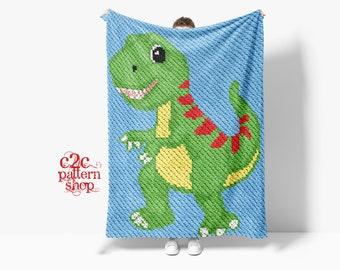 C2C Dinosaur Crochet Pattern / Corner to Corner / C2C Crochet Blanket / C2C Graphgan / C2C Graphs / C2C Afghan / C2C Patterns / Cross Stitch