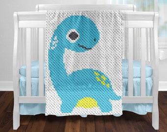 C2C Little Dino Baby Blanket Crochet Pattern / Corner to Corner / Cute Animal Graph / C2C Crib Crochet Blanket / C2C Graphgan / C2C Graph