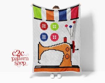C2C Sewing Machine Crochet Pattern with Written Instructions / C2C Needlework Graph / C2C Graphgan
