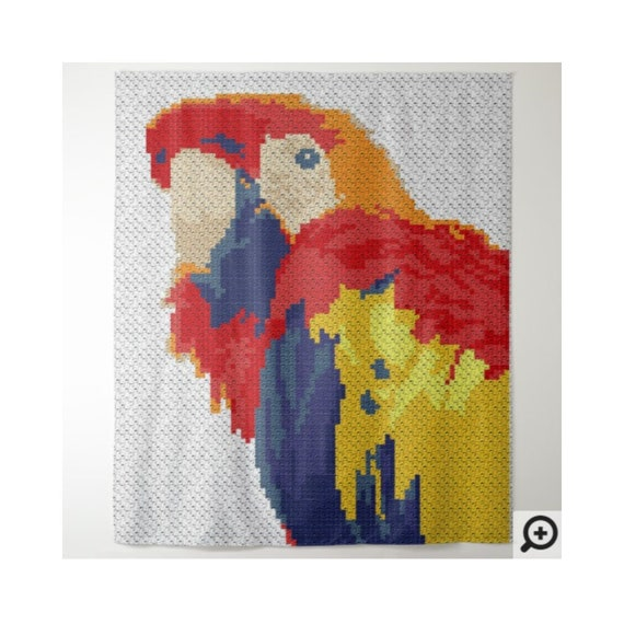 C2C Bird Afghan Pattern - Corner to Corner - C2C Crochet - Macaw Parrot  Animal Blanket Crochet Graph Pattern with Written Instructions