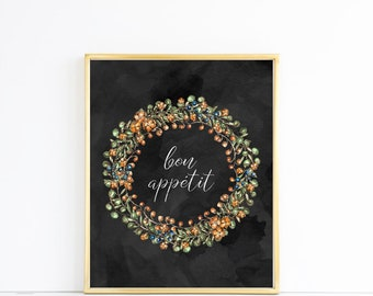 bon appetit Watercolor floral Print JPEG File For You to Download Print and Hang