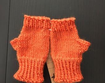 Orange Kid Mitts - Hand Knit Children's Fingerless Mitts - Fingerless Mittens