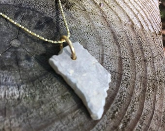 State of Indiana Shaped Stone Pendant Necklace