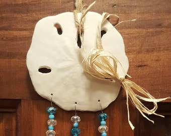 Sand Dollar Suncatcher - Garden Art - Nautical / Beach / Coastal Decor - Features Wine Corks and Blue  & Clear Crystal Beads