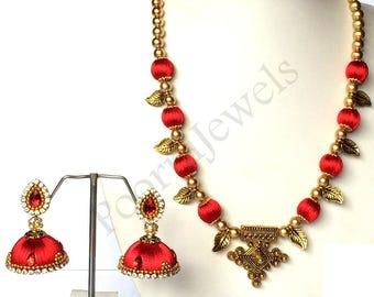 Antique Silk Thread Jewellery Set (Necklace & Earrings) / Indian Jewellery / Silk Thread Necklace with Jhumki Earrings For Women