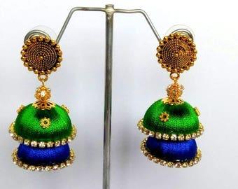 73945b262 Silk Thread Jhumki Earrings / Indian Thread Earrings/ Jhumka Earrings