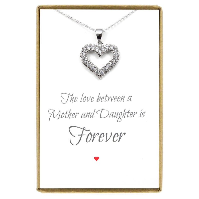 Valentine/'s Day Gift for Mom Heart Necklace Silver Open Heart Necklace Sterling Silver Mother of the Bride Gift