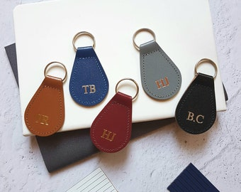 Personalised Leather Keyring Key Fob with Initials. Monogram Gift for Valentine's Day, New Home, New Car gift