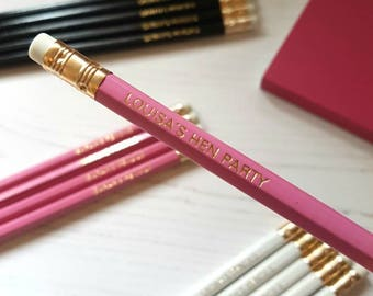 Personalised custom pencils, pencil set. Add initials, name, quote or your wording. Hen Party, Event, Wedding, Birthday, Valentine's Day!