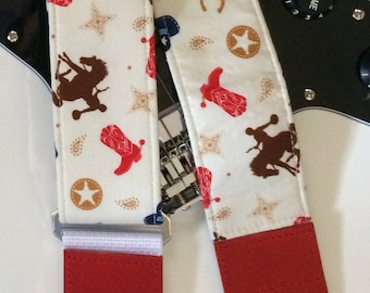 Western guitar strap // bucking bronco cowboy boots and horseshoes // suits acoustic guitar, electric guitar, bass // guitar gift women