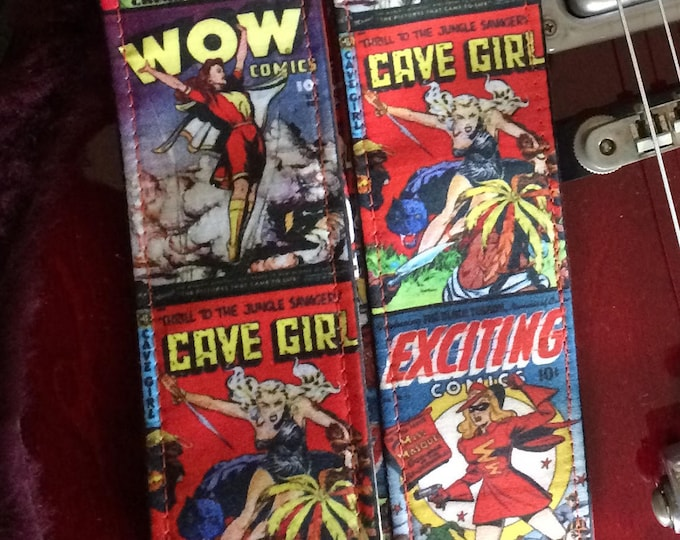 Comic book guitar strap handmade // vintage comic covers fabulous fierce women // retro crime fiction heroines // girlfriend/daughter gift