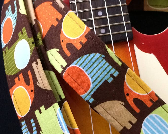 Elephant ukulele strap, mandolin strap or child guitar strap // cute elephants on a brown background // unique gift for girl guitarist tween