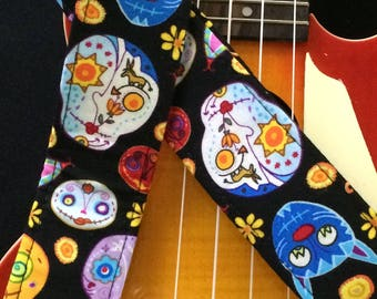 Ukulele strap, mandolin strap or child guitar strap // sugar skulls (calavera) day of the dead dia de los muertos // tween gift teenager