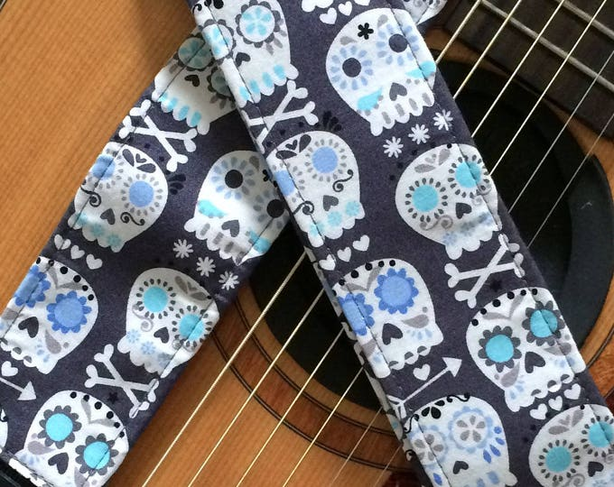 Skull guitar strap // sugar skulls in white, grey and blue // day of the dead calaveras // dia de los muertos // pastel punk guitar strap