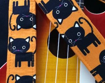 Cat ukulele strap, mandolin strap or child guitar strap // black cats with orange background // black cat ukulele strap // musician gift