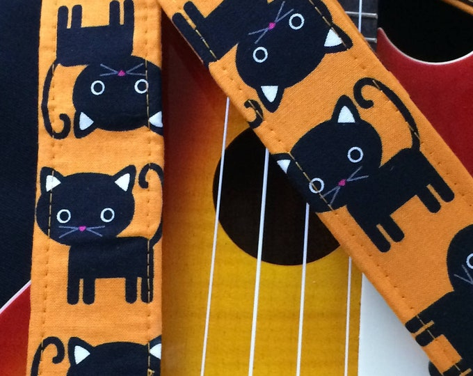 Cat ukulele strap, mandolin strap or child guitar strap // black cats with orange background // black cat ukulele strap // musician gift