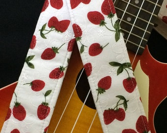 Ukulele strap, mandolin strap or child guitar strap // handmade retro nostalgia // luscious red strawberries on white broderie anglaise