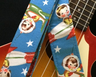 Space ukulele strap, mandolin strap or child guitar strap // handmade retro nostalgia astronaut babies // unique musician gift, teacher gift