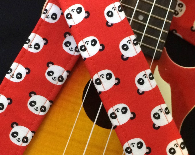 Panda ukulele strap, mandolin strap or child guitar strap // black and white pandas on red background // tween teenager gift or teacher gift