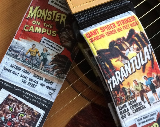 Retro movie guitar strap handmade // vintage mid century monster posters // retro lo-fi science fiction schlock // choice of leather ends