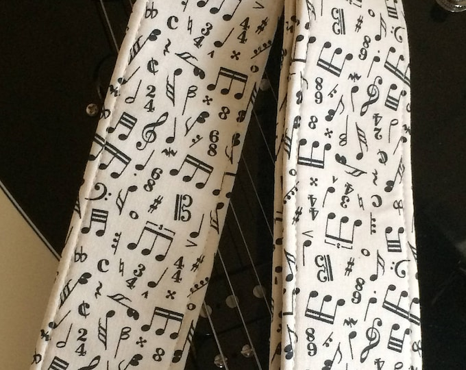 Music notes guitar strap // black on cream // cool retro guitarist gift // musical gift suits acoustic guitar, electric guitar, bass guitar