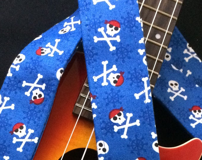 Pirate ukulele strap, mandolin strap or child guitar strap // skull and crossbones on a blue background // retro jolly roger nautical gift