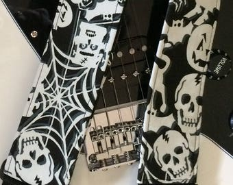 Glow in the dark guitar strap // black and white skull guitar strap, spider and web, monster heads // rockabilly rock'n'roll guitarist gift