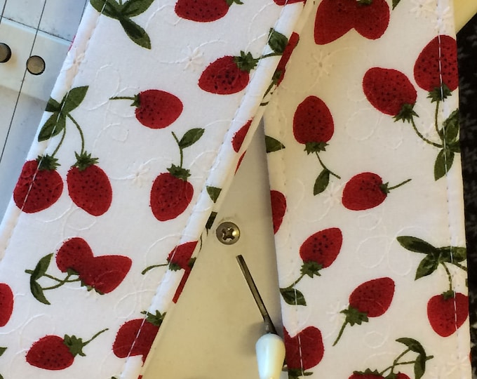 Retro guitar strap // gorgeous nostalgic strawberry print // red strawberries on white broderie anglaise // suits acoustic, electric, bass