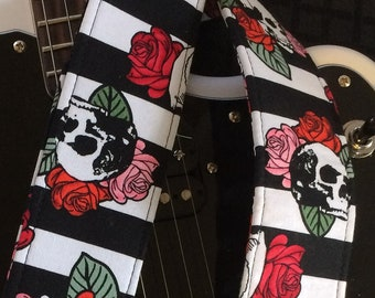 Skulls and roses guitar strap LAST ONES // red & pink roses on white and black background // skull guitar strap // floral guitar strap