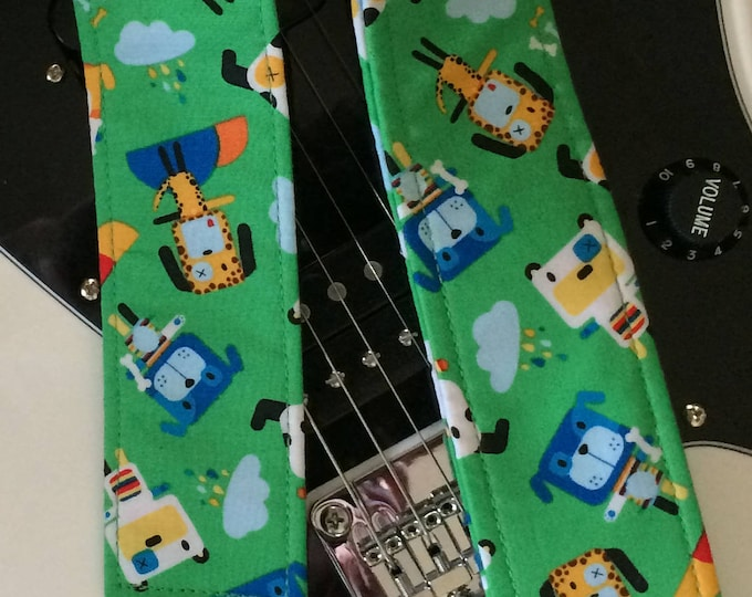 Dog guitar strap // green guitar strap // cute guitarist gift for her or him // unique gift guitar accessory // son or daughter gift