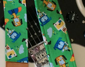 Dog robots guitar strap // unique music accessory // guitarist gift for her or him // unique gift guitar accessory // son or daughter gift