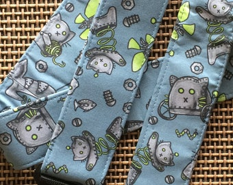 Robot cat guitar strap // grey steampunk cats on a blue-grey background with lime green accents // unique gift idea for music geek