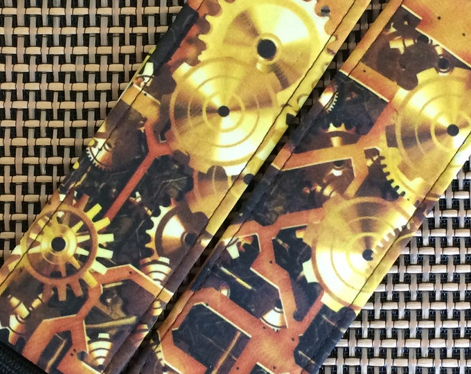 Steampunk guitar strap // retro-futuristic gears clockwork machinery parts polished brass // unique music technology cyberpunk geek gift
