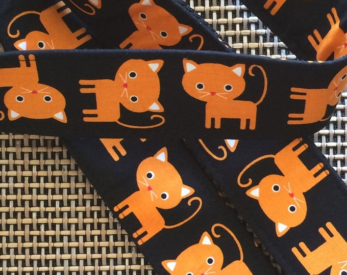 Cat guitar strap // cute orange cats on a black background // Halloween guitarist gift // rock'n'roll/rockabilly cat guitar strap