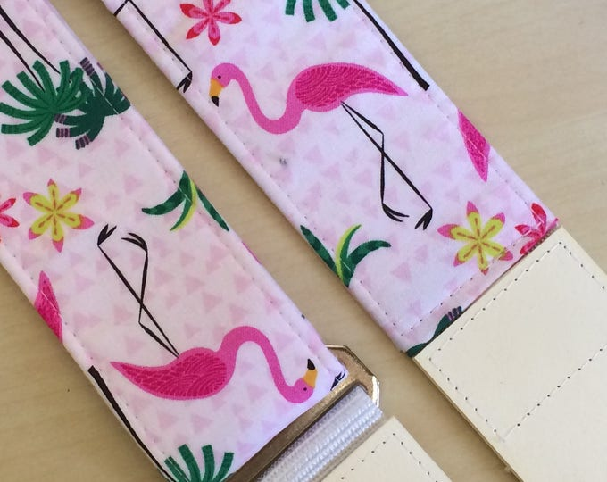 Flamingo guitar strap // pastel surf punk fuschia pink flamingos and tropical palm trees // unique guitarist gift // music lover teen gift