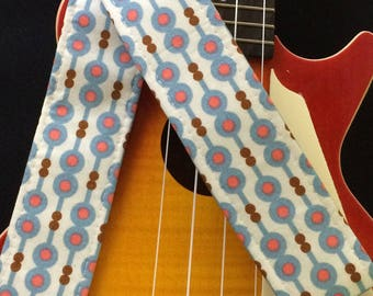 Retro instrument strap, ukulele, mandolin or child guitar strap // retro mid century modern in white, blue and pink // unique musician gift