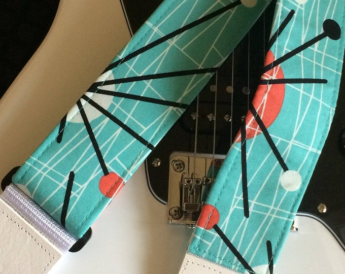 Atomic guitar strap // groovy handmade retro mid-century modern // aqua, orange, black and white // cool guitarist gift, music teacher gift