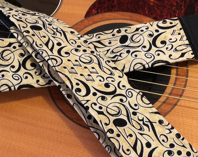 Musical guitar strap // black music symbols on cream // unique music gift // guitar teacher gift // gifts for him // guitarist gift