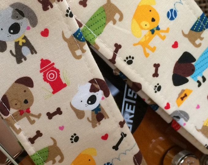 Dog guitar strap LAST ONE! fabric discontinued // colourful dogs in the park // unique guitar gift // suits acoustic, electric, bass guitar