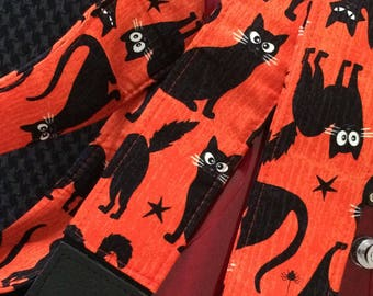Black cat guitar strap // creepy cool Halloween black cats with glow-in-the-dark eyes // musician gift // girlfriend gift