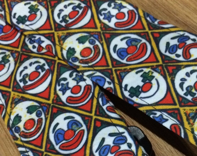 Clown guitar strap // red, white and blue clown faces // cool retro circus theme gift for guitar player // music teacher gift