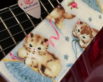 Kitten guitar strap // adorable pastel retro nostalgia music accessory gift // suits acoustic, bass, electric guitar // teen guitarist gift