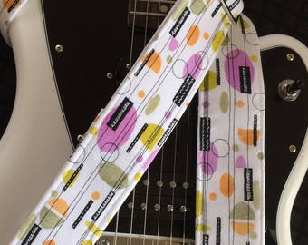 Retro atomic guitar strap mid-century modern handmade pink, orange, lime, black & white // 1950s/1960s unique gift for cool guitarist