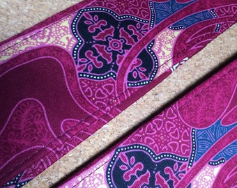 Psychedelic guitar strap // Java batik retro magenta, teal, yellow // hippie guitar strap // boho chic // acoustic electric bass guitar