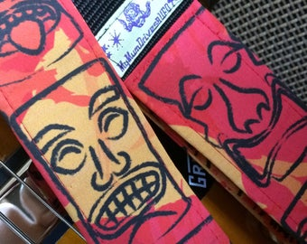 Tiki guitar strap // red orange and black tiki heads mid century modern Hawaiian print retro guitar strap // ukulele strap as custom order