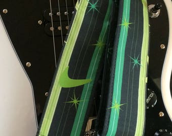 Surf guitar strap // stripes in shades of green with stars and boomerangs // ukulele strap available as custom order // tiki hawaiian 1960s