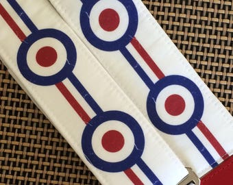 Mod target guitar strap // retro nostalgia sharp roundel circles, red, blue, white racing stripes // musician gift // cool guitar accessory