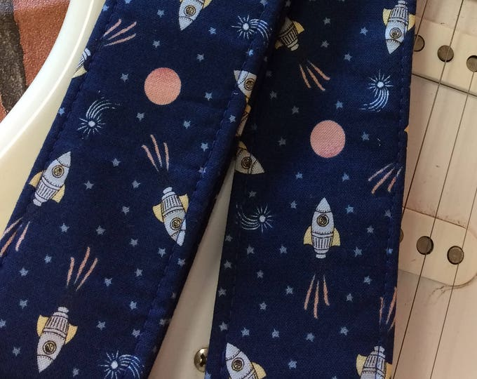 Rockets guitar strap // retro out-of-this-world space ship guitar strap // navy blue star field background // science gift // guitarist gift