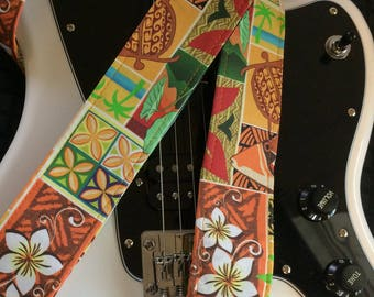 Hawaiian print guitar strap // colorful instrument strap orange, yellow, brown and green // ukulele strap as custom order